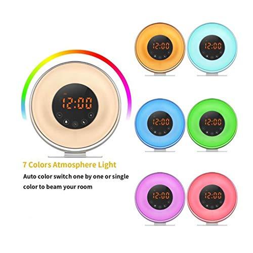 Wekker met licht LED Touch klok licht met simulatie radio FM Sunrise Sunset 7 kleuren Snooze 10 helderheid nachtlicht voor kinderen slaapkamer