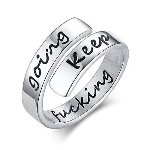 ECYC RVS Gegraveerde Keep Going Ring, Gepersonaliseerde Inspirerende Ringen Voor Dames Heren