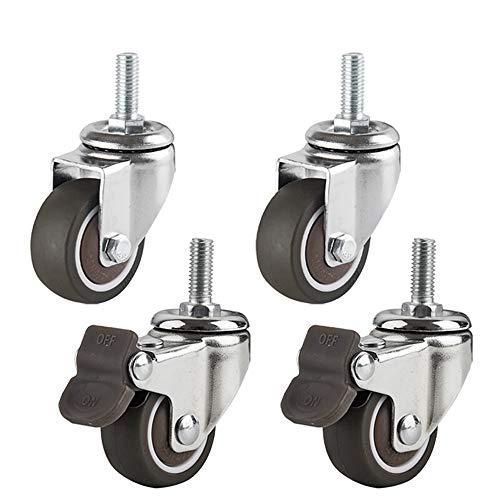 Casters 2xmit Bremse Lenkrollen + 2X Lenkrollen 40mmTPE Gummi M8 x20 StemSwivel Möbelrolle mit Gewinde 360 Grad mit Bremswagenrolle