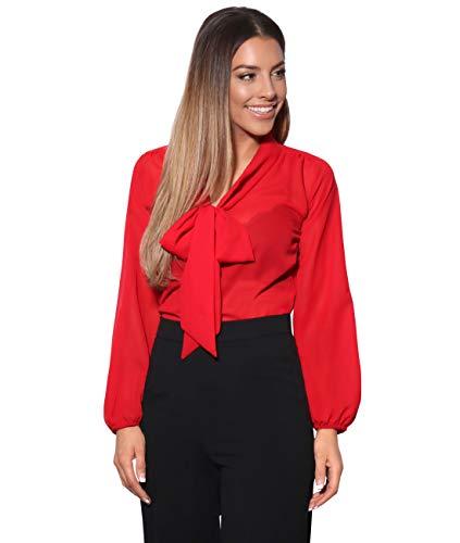 KRISP Blusa Mujer Cuello Lazo Elegante, Rojo (9522), 42, 9522-RED-14