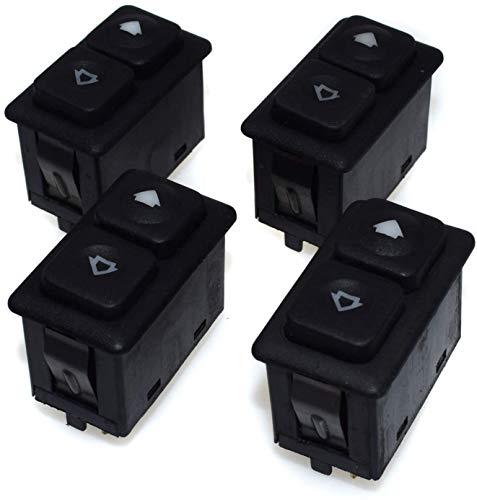 4 interruptores eléctricos de ventana de control eléctrico de elevación, botón de control de elevación, 5 pines, para BMW E30 Serie 3 E30 61311381205 (4 piezas)
