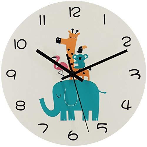 trendor 75871 Kinder-Wanduhr Tierwelt Ø 30 cm Quarz lautlos ohne Ticken lautlose Wanduhr für das Kinderzimmer, Geschenkidee für Mädchen und Jungs
