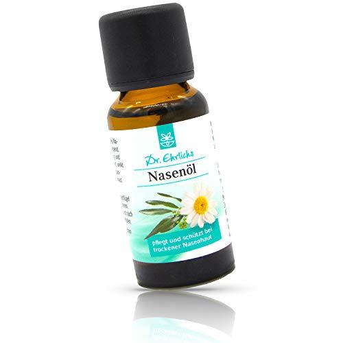 Dr. Ehrlichs Nasenöl 20 ml - schonende Pflege für trockene Nase und Nasenschleimhaut bei Erkältung Schnupfen - Pflege bei verstopfter Nase - Schnupfnase - Kamille - Jojoba - Eukalyptus-öl & Menthol helfen beim durchatmen - 100 % Natürlich - Alternative zur Nasensalbe - Hilft bei der Allergie