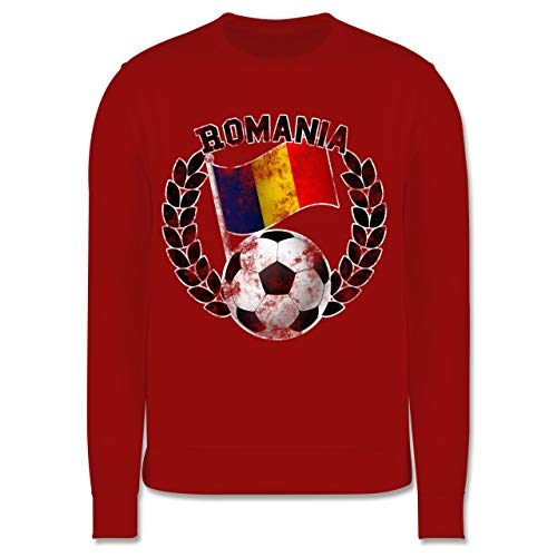Sport Kind - Romania Flagge & Fußball Vintage - 104 (3/4 Jahre) - Rot - Romania Pullover - JH030K - Kinder Pullover