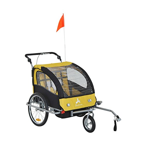 Aosom Elite 360 Swivel 2-in-1 Double Child Two-Wheel Bicycle Cargo Trailer and Jogger with 2 Safety Harnesses, Yellow