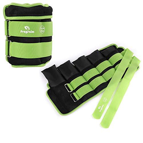Fragraim Adjustable Ankle Weights 1-20 LBS Pair with Removable Weight for Jogging, Gymnastics, Aerobics, Physical Therapy, Resistance Training Each 2-10 lbs, Total 20LBS, Green
