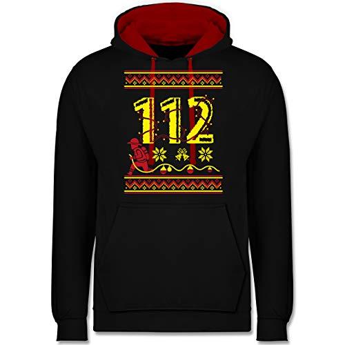 Weihnachten & Silvester - 112 Feuerwehrmann - Wintermuster - L - Schwarz/Rot - Feuerwehr - JH003 - Hoodie zweifarbig und Kapuzenpullover für Herren und Damen