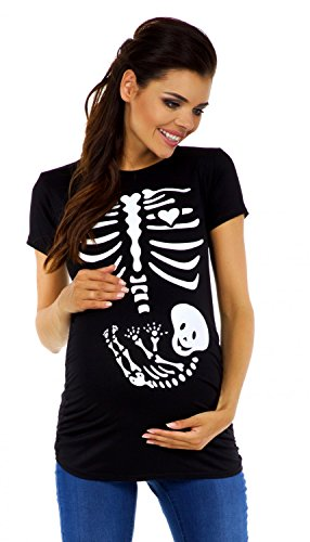 Zeta Ville - Women's Maternity Baby Skeleton Halloween Funny T-Shirt - 085c (Black, UK 14/16, 2XL)