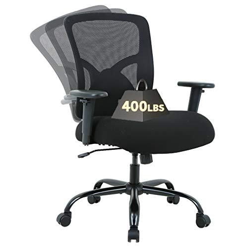 Big and Tall Ergonomic Office Chair 400lbs Executive Desk Chair,Mesh Computer Chair Height Adjustable Arms High Back Task Chair Rolling Swivel Chair with Lumbar Support Headrest and Wheels,Black