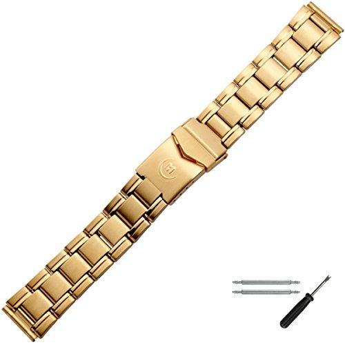 MARBURGER Uhrenarmband 18mm Edelstahl Gold - Werkzeug Montage Set 84405000020