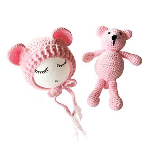 Frecoccialo Unisex Neugeborene Fotografie kostüm Gestrickte Mütze und Puppe Set Fotoshooting Requisiten Funny Bekleidung (0-7M)