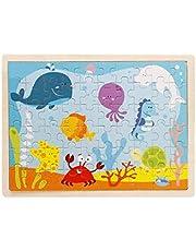 لعبة تركيب القطع والاحجيات لتعليم الاطفال بالمرحلة الباكرة، 60 قطعة خشبية برسومات متحركة