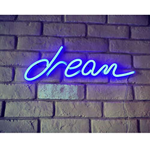 XERGY LED Neon 'Blue Dream Sign' Wall Sign for Cool Light, Wall Art, Bedroom Decorations, Home Accessories, Party, and Holiday Décor: Powered by USB (Pack of 1)