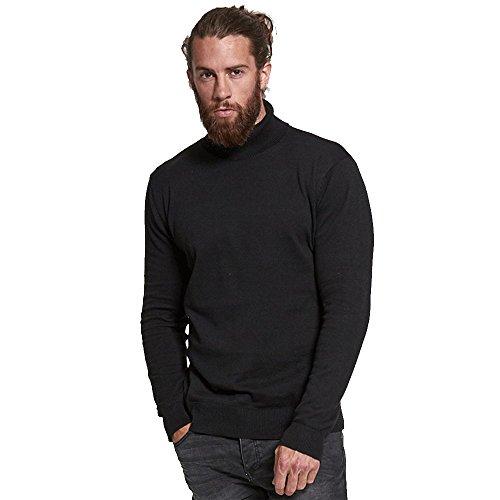 Brave Soul Hume Lupetto da uomo, in cotone lavorato a maglia Nero S