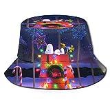 Animación navideña Sn-oopy (3) Sombrero de Pescador Verano Protección UV Sombreros de Cubo de Viaje Gorra de Sol Plegable de Playa para Hombres y mujeres-1L