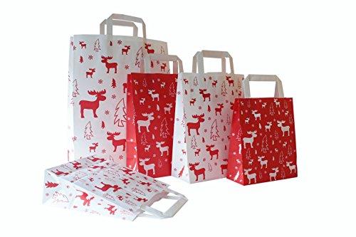 Papiertragetaschen Weihnachten mit Flachhenkel ELCH ROT - Verschiedene Größen und Mengen (22 + 10 x 29 cm, 100 Stück)