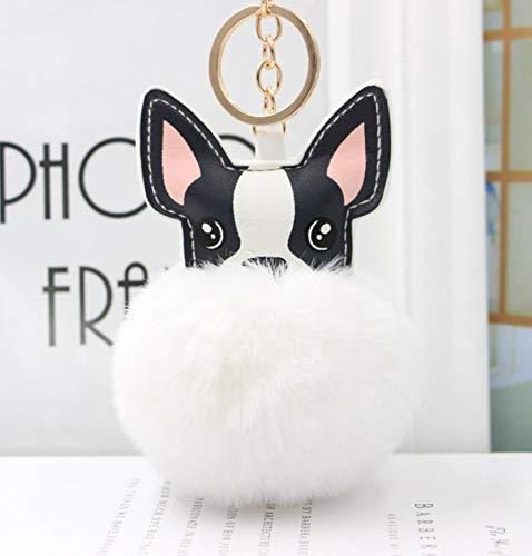 Flauschige Kaninchen Pelz Kugel Französisch Bulldogge Schlüsselanhänger Leder Weiche Pom Plüsch Gefülltspielzeug Tier Hund Schlüsselanhänger Halter Tasche Schmuckstück Weiß