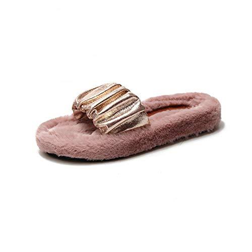 MQQM Forro De Felpa Interior Antideslizante Pantuflas,Zapatillas Antideslizantes Resistentes al Desgaste, Brillante hippery-Pink_36,Cálido Felpa Suave Invierno Pantuflas