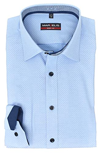 Marvelis Herren Businesshemd Body Fit Kent Kragen Extra Langer Arm 69cm Muster Hellblau, Größe:43