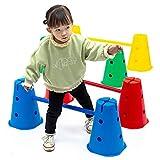 YJSD Agility Hurdles Cone Set, Carrera de obstáculos, Juegos al Aire Libre, Equipo de Entrenamiento de Velocidad de Escalera Ajustable para niños