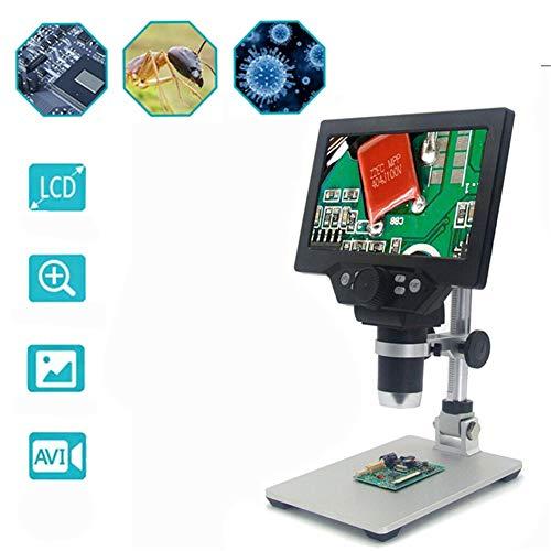 ALG Microscopio Digital LCD de 7 Pulgadas, Aumento de 1200X, 8 Luces LED Ajustables, grabación en Bucle y función de cámara, Base Estable, Adecuado para niños, Estudiantes