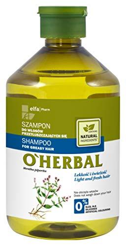 O'Herbal Champú Cabello/Pelo Graso Natural Ecológico Sin Sulfatos Ni Siliconas Con Extracto De Menta O`'Herbal 500Ml 500 ml