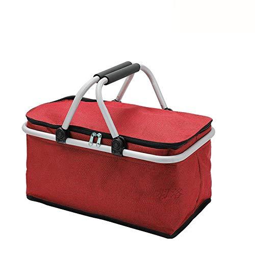 Picknickmanden 4 Personen 25L Grote Capaciteit Geïsoleerde Draagbare Inklapbare Geschenkmand Brengt Uw Gezin Een Heerlijk Weekendje Weg,Red-44 * 24 * 24cm