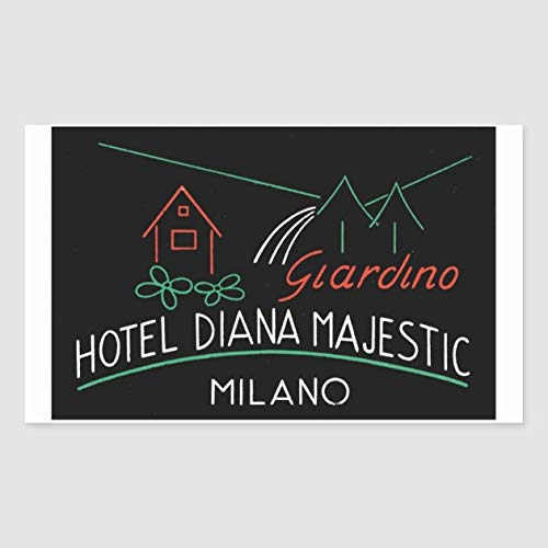 Giardino, Hotel Diana Majestic, Milano Rectangular Sticker - Sticker Graphic - Auto, Wall, Laptop, Cell, Truck Sticker for Windows, Cars, Trucks