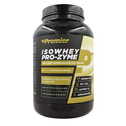 Premier Integratori Isowhey Pro-zyme   proteine del siero di latte isolate Volactive Ultrawhey Isolate 90   fonte proteica maggiore del 90%   Senza aspartame - (Cioccolato bianco, 2 Kg)