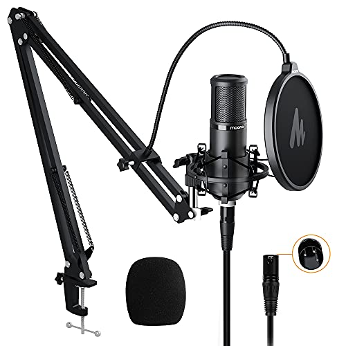 XLR Condenser Microphone Kit MAONO Professional Cardioid Condenser Studio Recording Mic for Streaming, podcasting, Singing, Voice-Over, Vocal, Home-Studio, Youtube, Skype, Twitch (AU-PM320S)