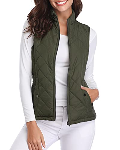 Fuinloth Women's Quilted Vest, Stand Collar Lightweight Zip Padded Gilet Green L