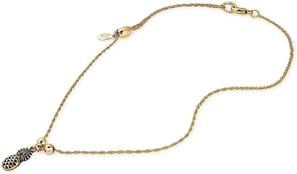 Alex and Ani Path of Symbols Adjustable Anklet for Women, Pineapple Charm, Rafaelian Gold Finish, 11.5 in