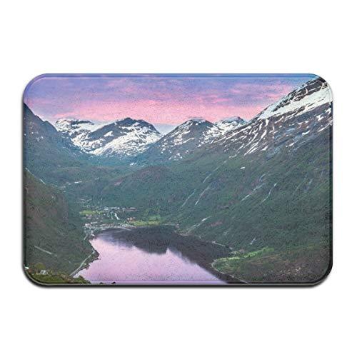 N/A Norway Fjord Mountains Lake Reflection - Alfombra para sala de estar, dormitorio, hogar, puerta de yoga, antideslizante, alfombra de felpa de franela, alfombras para interiores
