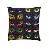 Fun Fundas de almohada Animales Ojos que brillan en la oscuridad Fundas de almohada de lentejuelas Tamaño estándar 18 X 18 pulgadas Reversible Brillante Fundas de almohada grandes Decoración del hoga