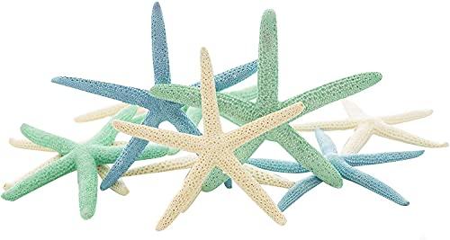 Starfish | 10 Dyed Finger Starfish Decor 2' to 4' | White, Green and Blue Finger Starfish | Plus Free Nautical eBook by Joseph Rains
