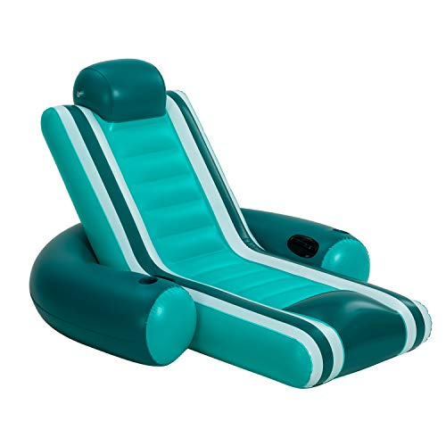 Inflatable Pool Lounger, Heavy Duty Comfortable Pool Float, Lake Raft, with Headrest, Cupholders, and Handles for Adults Pool Party Summer Activities