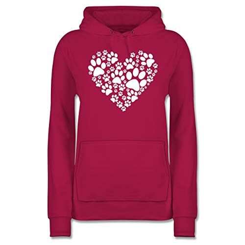 Statement - Pfoten Herz - M - Fuchsia - Shirt Pfote Damen - JH001F - Damen Hoodie und Kapuzenpullover für Frauen