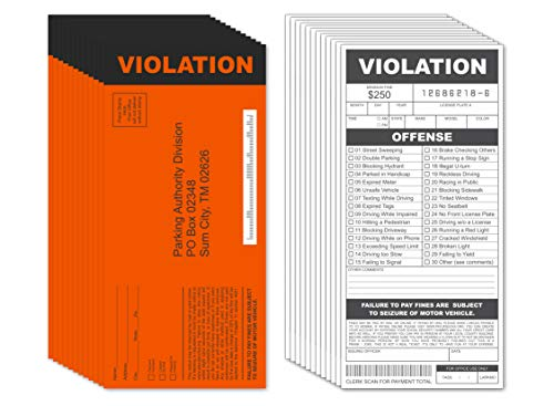Fake Parking Tickets Prank - Qty 25, Joke Violation Parking, Funny Gag Pretend Police Traffic and Safety Car Citations, Adult & Kid Friendly
