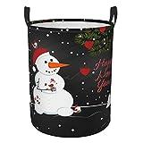 Delerain Cesta de lavandería de Navidad con asas, cesta de ropa sucia plegable, cesta de almacenamiento redonda para el hogar, baño, oficina, cuarto de bebé, 40 x 30 cm