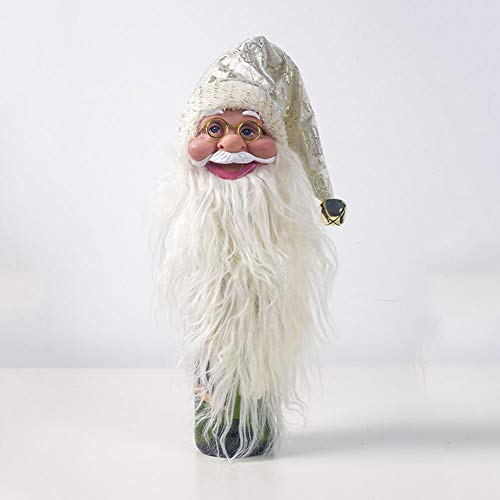 FairOnly Decoraciones navideñas PVC Santa Cluas Tapa de Botella de Vino Decoración de Botella Cabeza de Oro Viejo