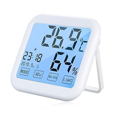 HONYGE LXGANG Multifuncional Pantalla táctil Luz de Fondo Digital termómetro higrómetro Interior Despertador ° C / ° F Humedad Temperatura Tiempo exhibición de la Fecha Termo-higrómetro