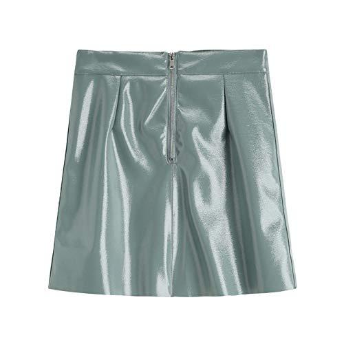 ERTYUIO Falda Corta Volantes Mujer Moda Sexy para Mujer con Falda De Cuero Verde Y Azul De Cintura Alta Elegant-B_L