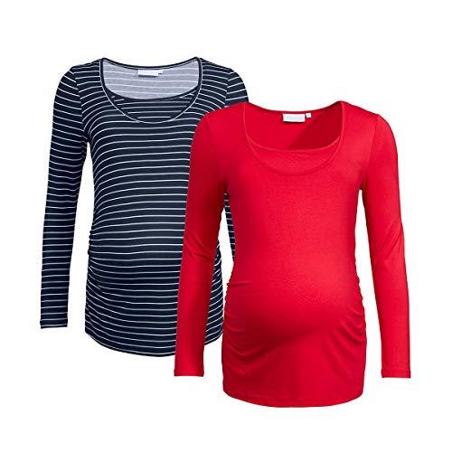 2HEARTS Lot de 2 T-Shirts de Grossesse et d'Allaitement T-Shirt de Grossesse T-Shirt de Grossesse, Black Iris/écru+Tango Red