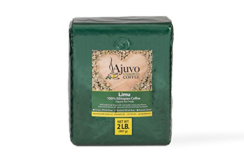 Ethiopian Limu Coffee   100% Organic and Fair Trade   Roasted, Whole Bean   Two (2) Pounds