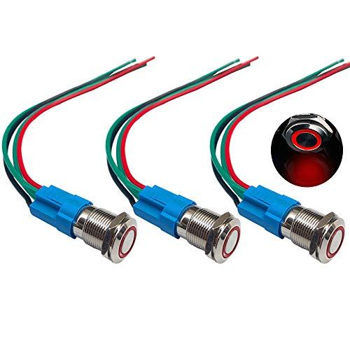 QitinDasen 3Pcs Premium 12V / 24V 3A Interruptor de Botón Momentáneo, 12mm Interruptor de Botón Metálico, LED Rojo Interruptor Pulsador Impermeable IP66 con Enchufe de Cable