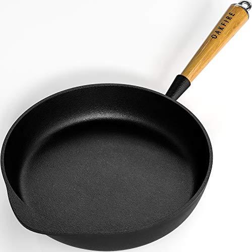 Oakfire Bratpfanne Gusseisen 28 cm Induktion Pfanne gusseisern Schmorpfanne mit Non-Stick Patina (Pfanne)