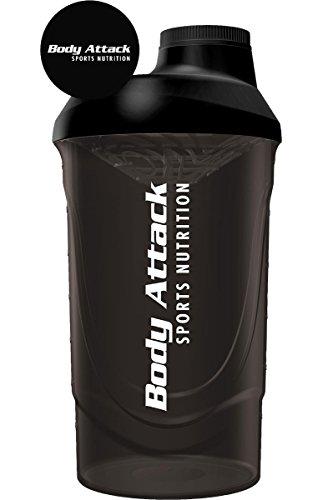 Body Attack Protein Shaker mit Sieb, Black, 600ml, Fitness-Becher BPA frei, auslaufsicher und spülmaschinenfest für cremige Shakes