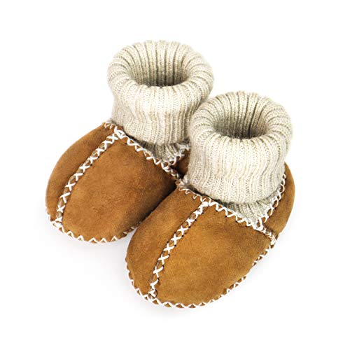 Pikababy Baby Moccasin Booties, Handmade Genuine Leather, Indoor Soft Sole Warm Shoes for Infant Baby Boys and Girls (Yellow, 12 Months)