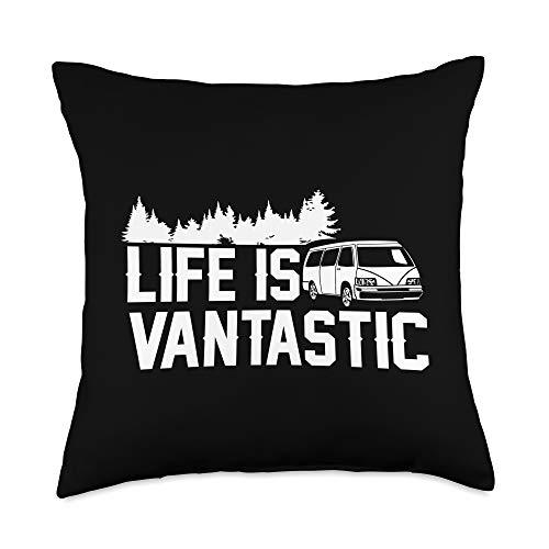 Van Life Apparel & Gifts Camper Van Gift-Life is Vantastic Vanlife Throw Pillow, 18x18, Multicolor