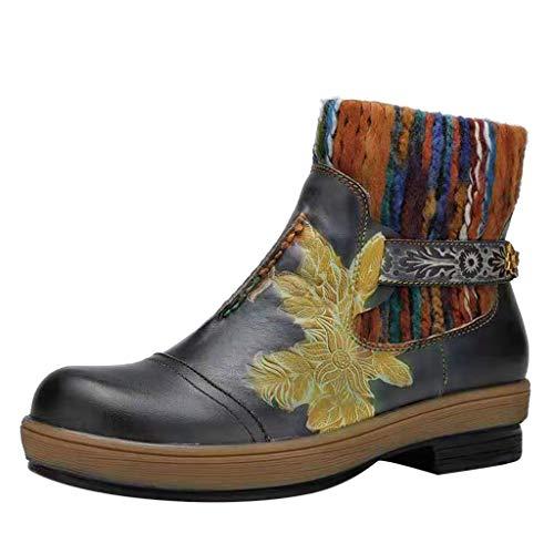 Xuthuly Frauen Retro Ethnischen Stil Blumen Bestickte Stiefeletten Damen Klassische Runde Kappe Niedriger Absatz Seitlicher Reißverschluss Einzelne Schuhe